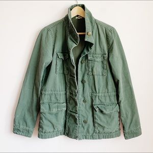 super worn in fatigue style military jacket